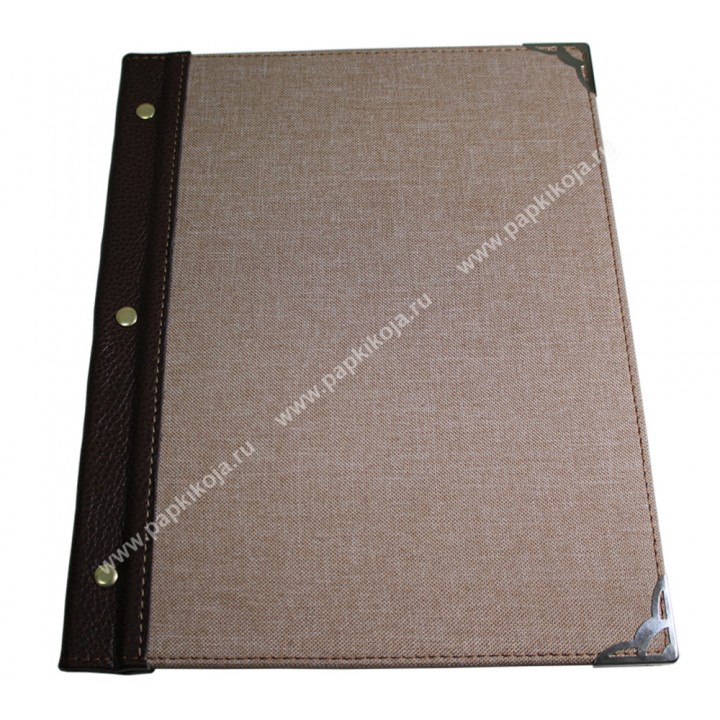 Комбинированная папка меню,  кожей и мешковиной